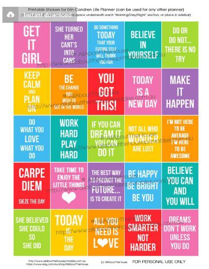 motivational quote planner sticker printable rainbow planner accessory erin condren vertical life planner full box eclp