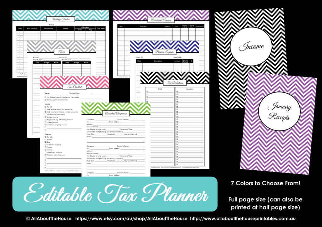 printable tax planner budget binder finance organization home management household binder chevron fillable editable pdf organize