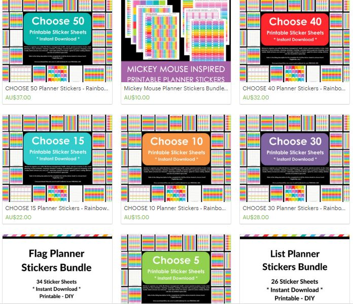 sticker bundle printable planner sticker allaboutthehouse rainbow icon list themed kit calendar sticker