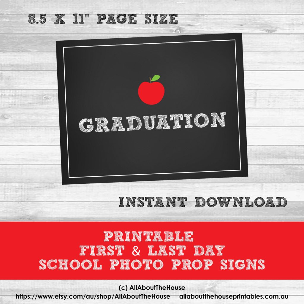 Grade Signs Photo Prop First Day Last Day School Printable Chalkboard graduation-min