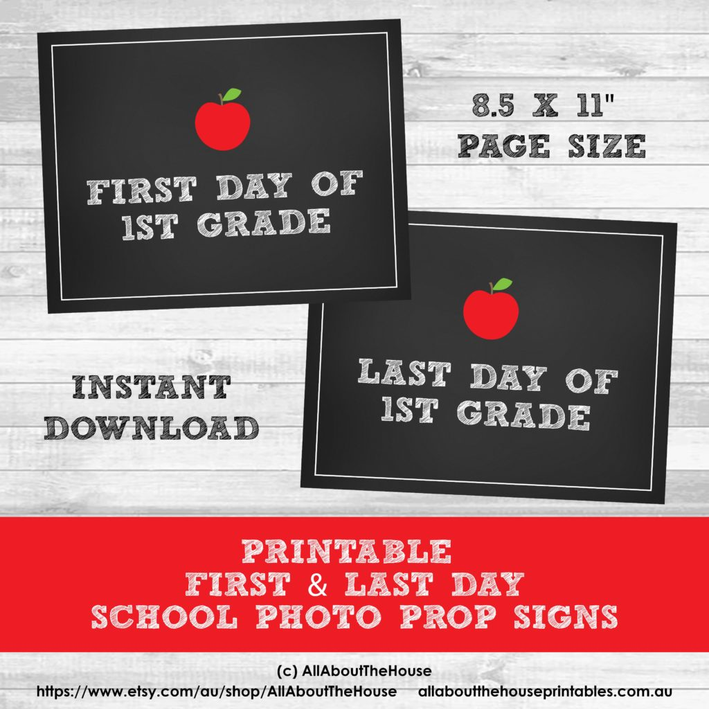Grade Signs Photo Prop First Day Last Day School Printable Chalkboard-min