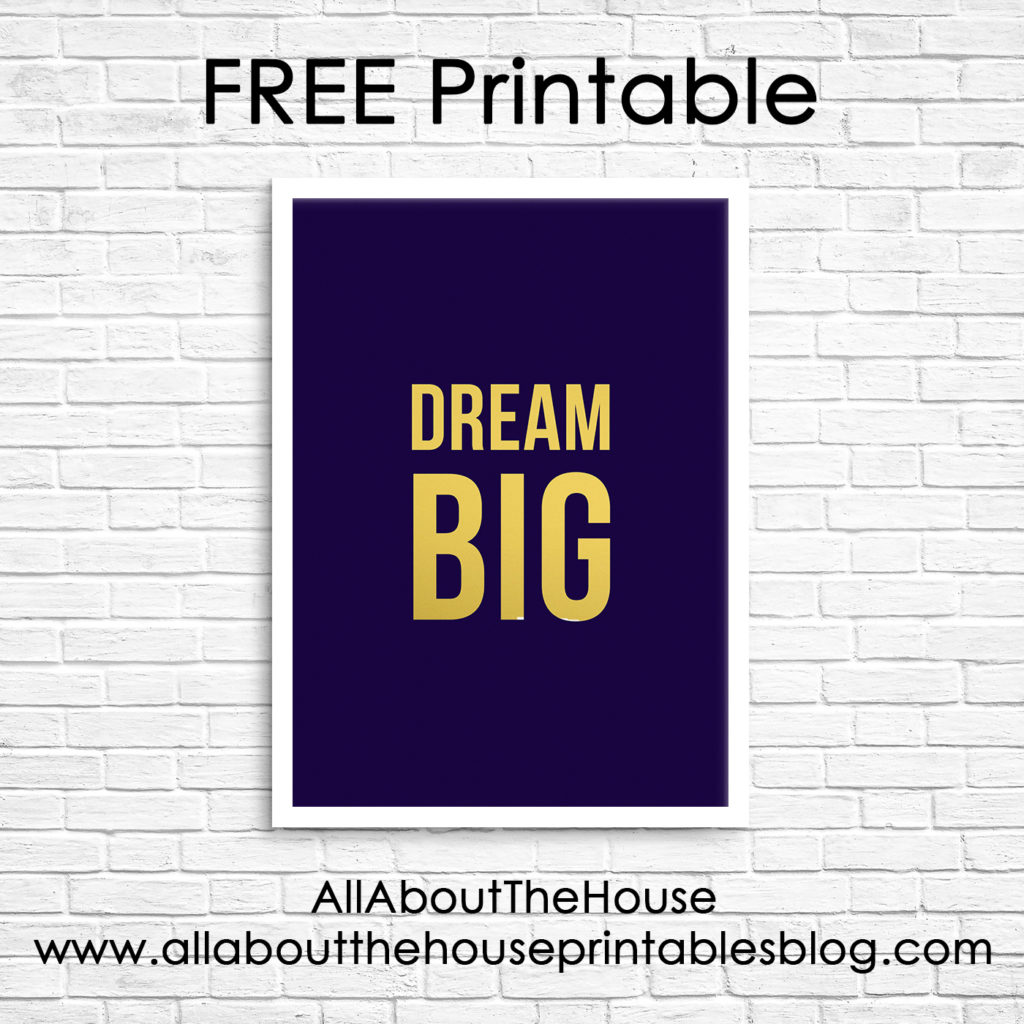 Dream Big Printable wall art, gold foil, navy, print, modern, entrepreneur, business, home office, inspiration, work, how to use mockups, photoshop, tutorial, smart objects