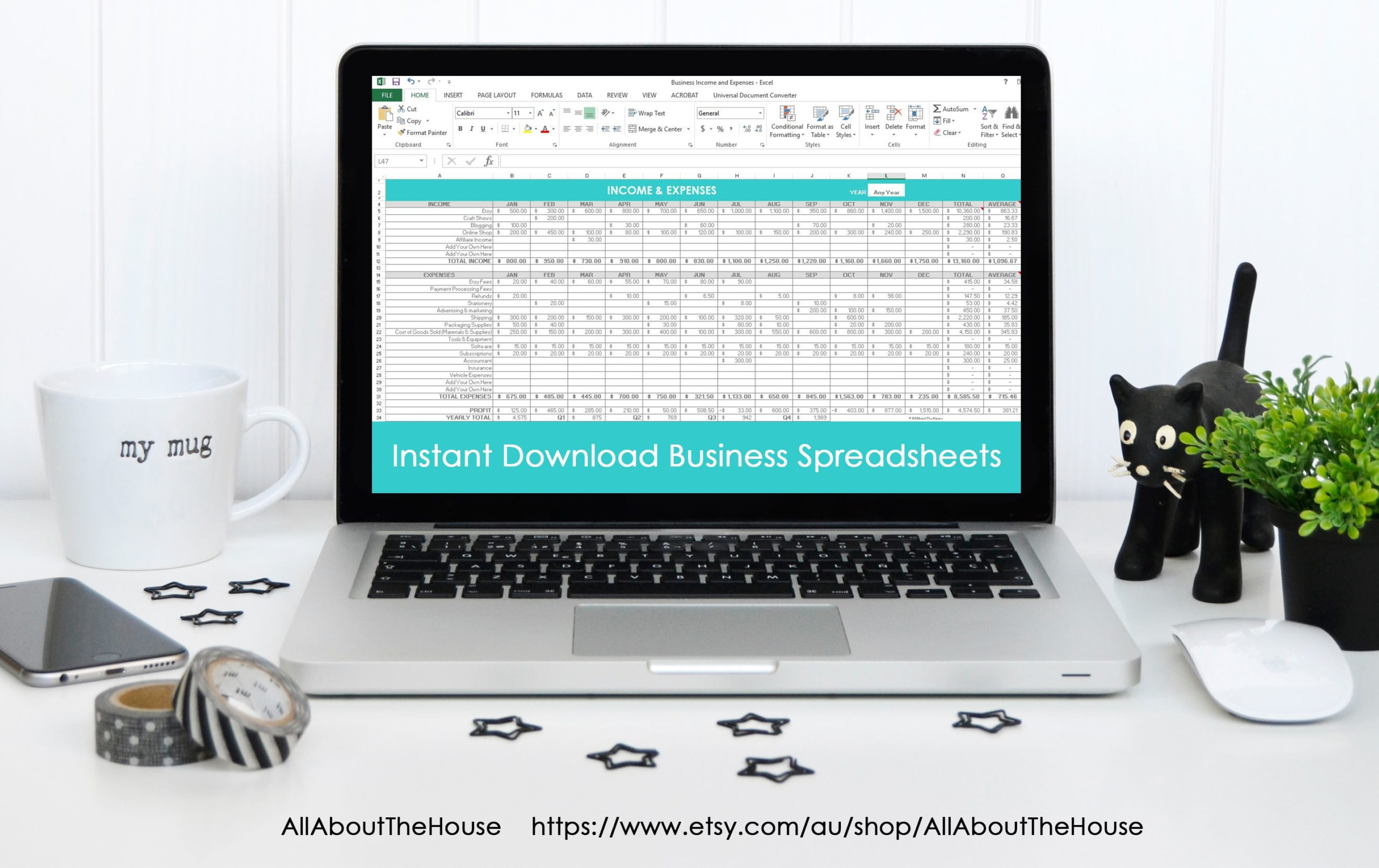business income and expenses spreadsheet, etsy, online, profit, loss, accounting, tax time, shop financial, etsy seller tool, shop management, trend, reporting, tax reporting-min
