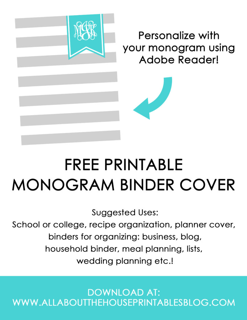 free printable binder cover notebook monogram editable pdf custom personalised stripe preppy grey blue printable planner cover household binder school college organization