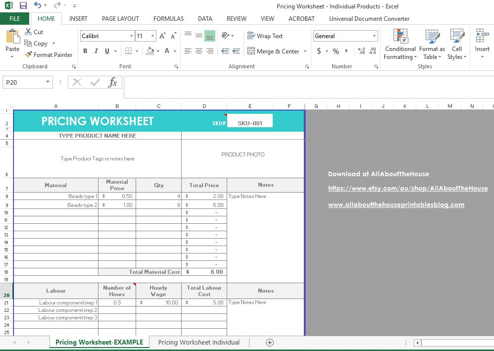 pricing worksheet template, excel file, etsy seller, business tool, spreadsheet, how to price hand made goods, profit margin