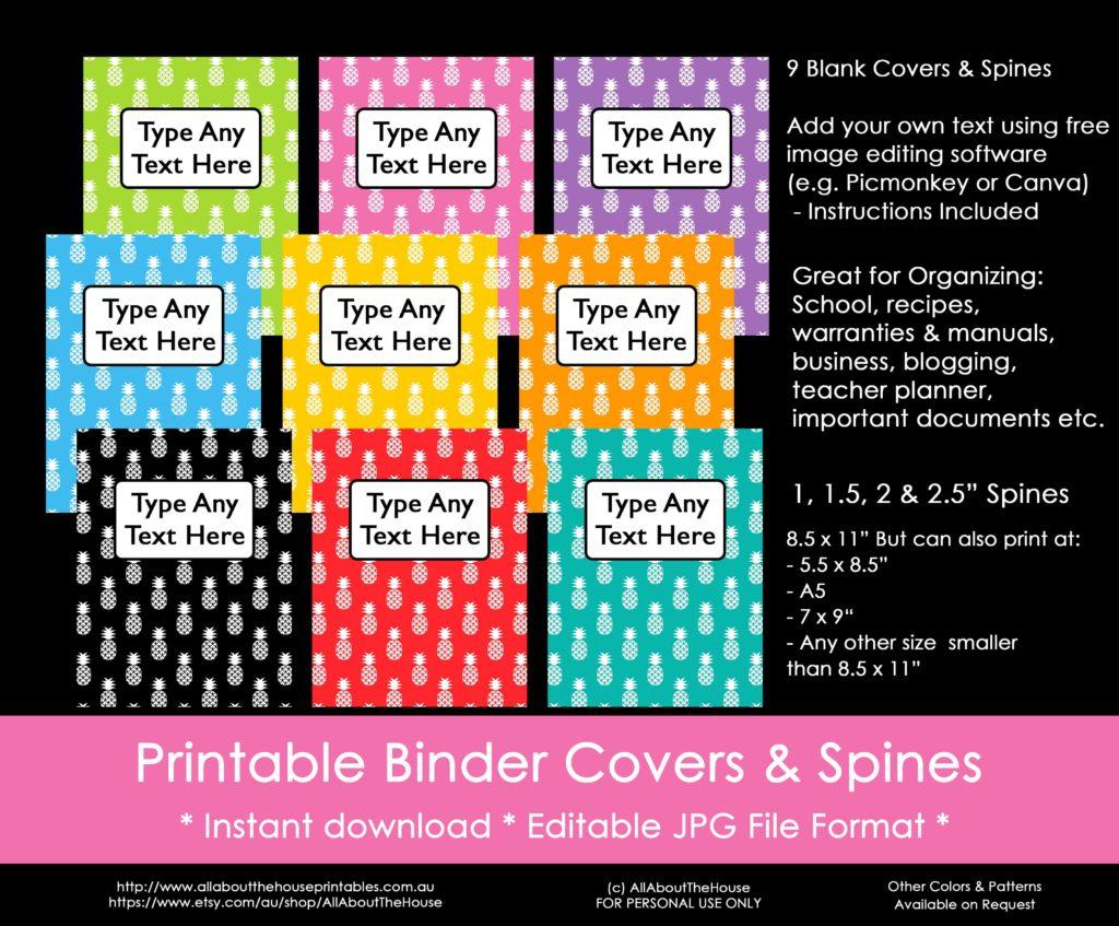 ways to organize using binder covers  plus a free printable monogram binder cover