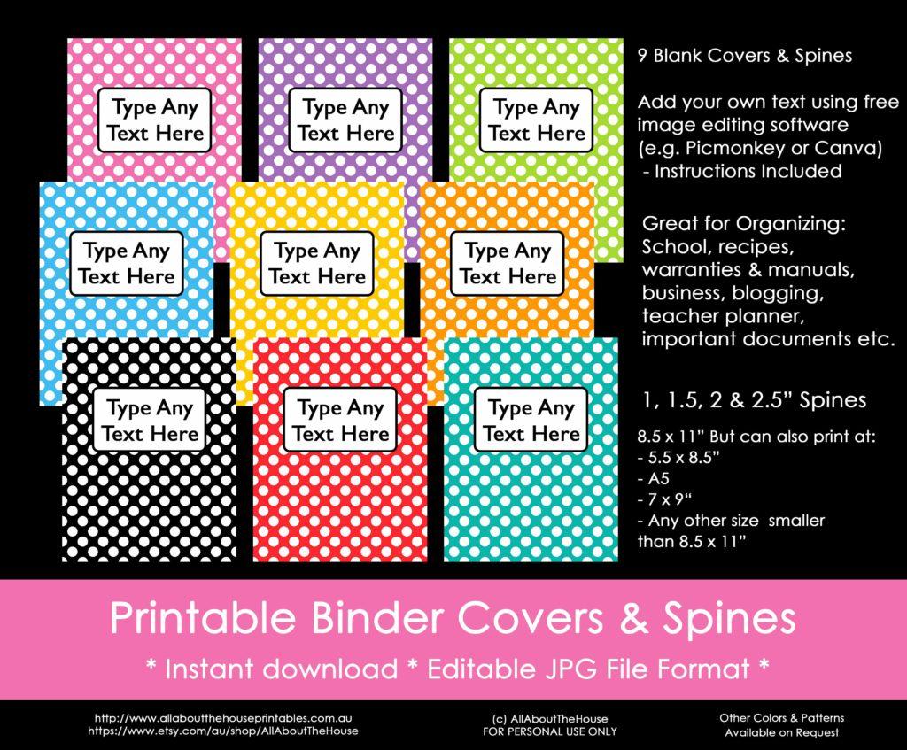 rainbow binder covers, polka dot, school, binder insert, editable, spine, planner cover, planner accessories, printable, household binder, organize, preppy-min