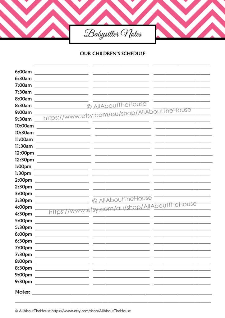 babysitter notes, kids schedule, nanny, daycare, school routine, household binder, family planner, organizer, printable, editable
