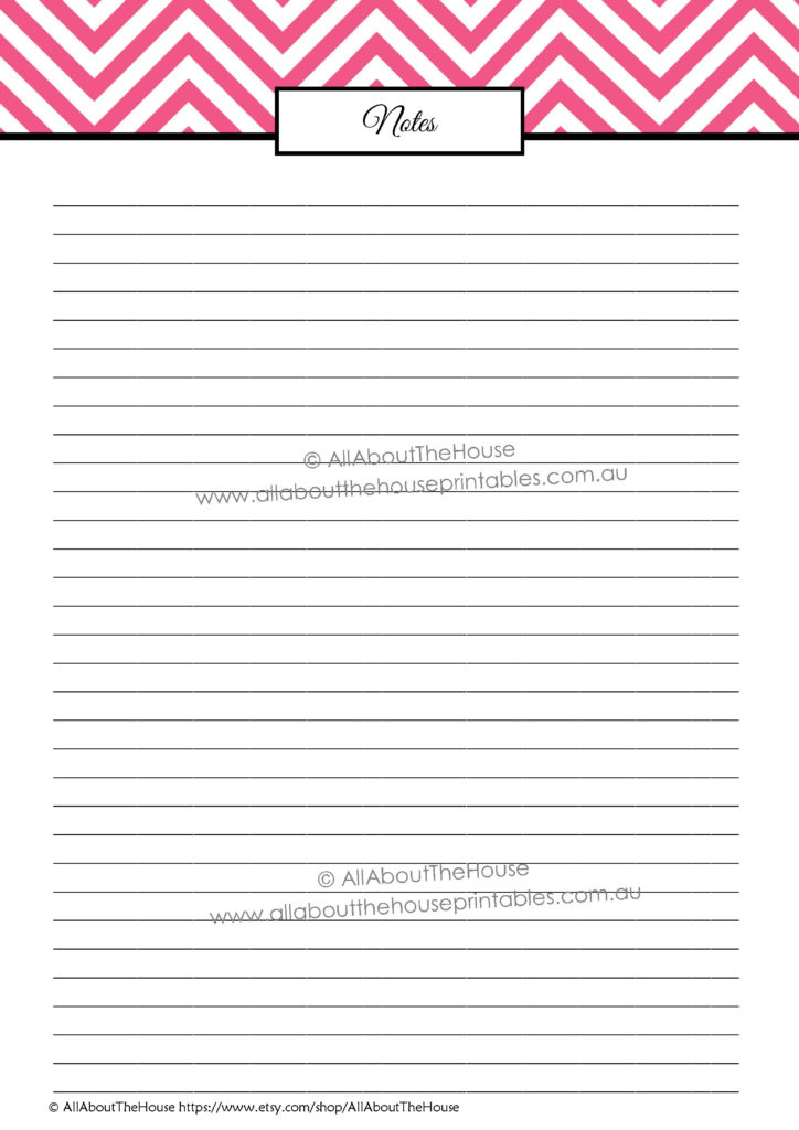 notes page, note paper, lined, printable, planner insert, how to use blank notes pages, household binder, planner add on