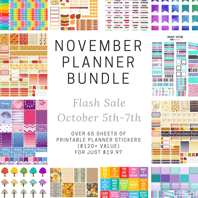 Limited time printable planner stickers discount bundle!