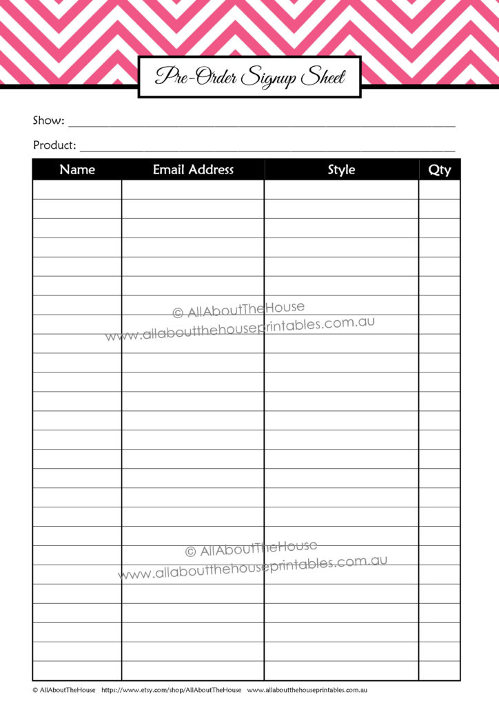 pre order signup sheet printable planner craft show diy online business handmade markets craft fair trade show