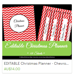 printable christmas planner editable