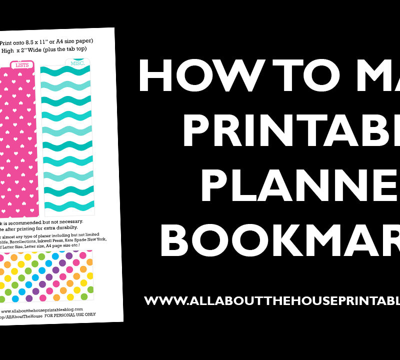 How to make printable planner bookmarks page dividers tab organizer kikki k erin condren filofax accessory video tutorial