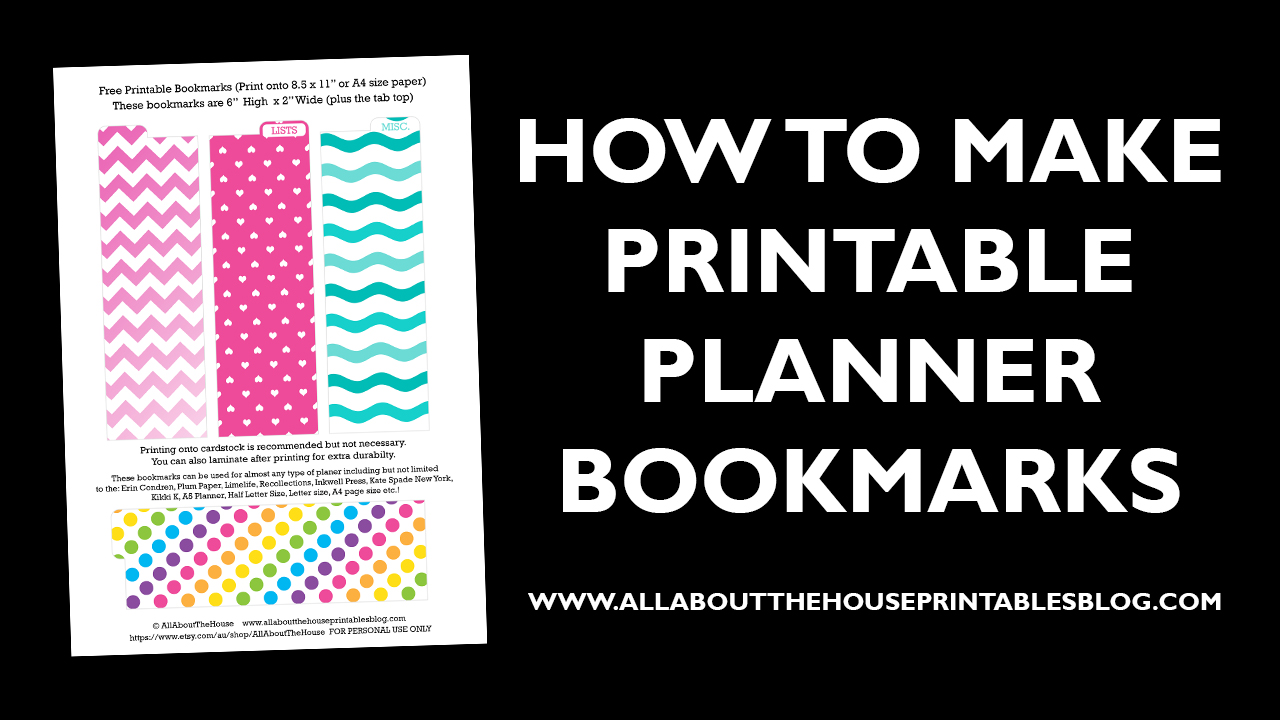 How to make a planner bookmark diy page markers tutorial for Make a planner online