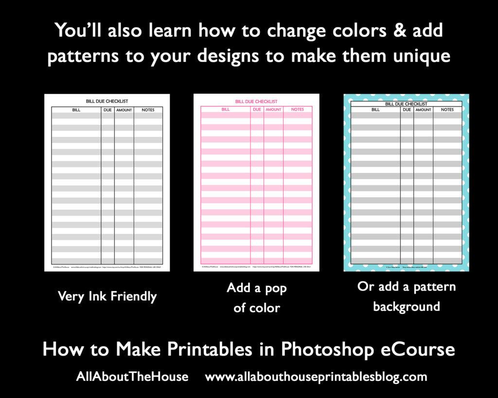 How to make printables in photoshop diy planner insert organization bill due checklist household binder homekeeping notebook