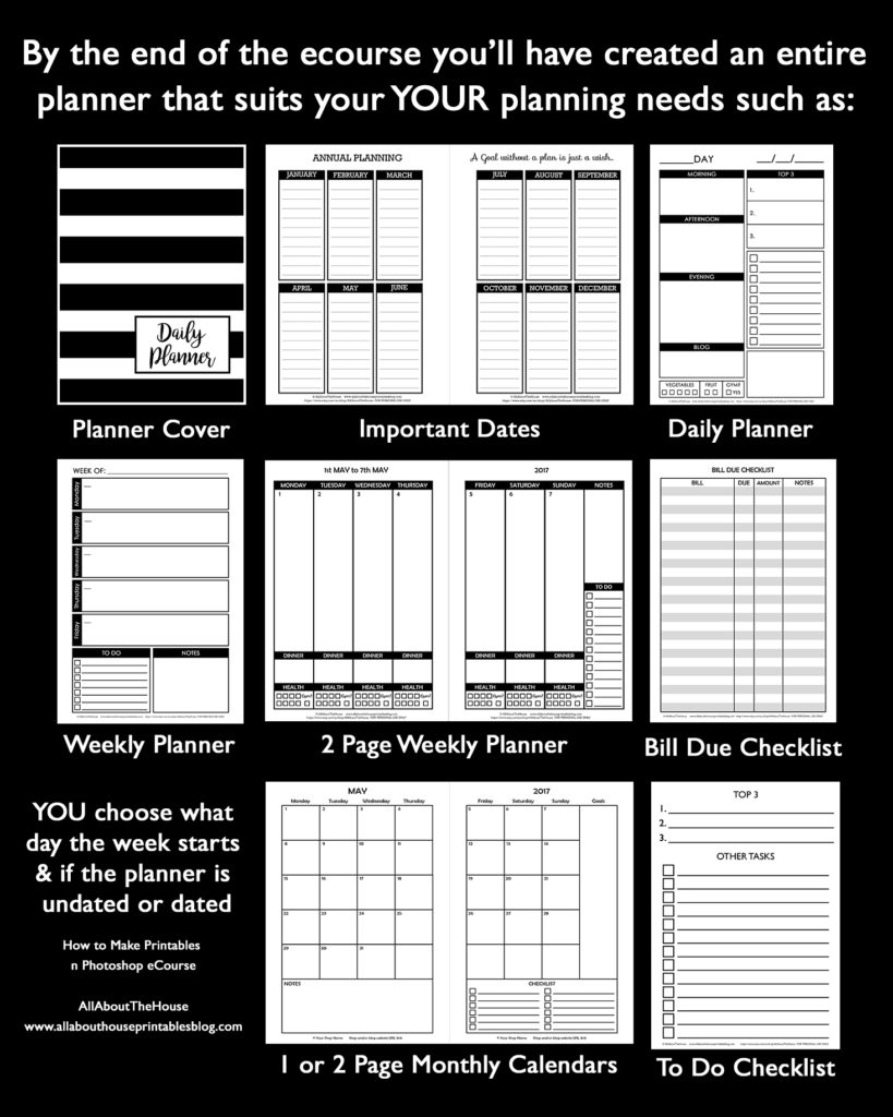 How to make printables in photoshop ecourse video tutorial step by step ultimate guide diy planner dated planner organizer