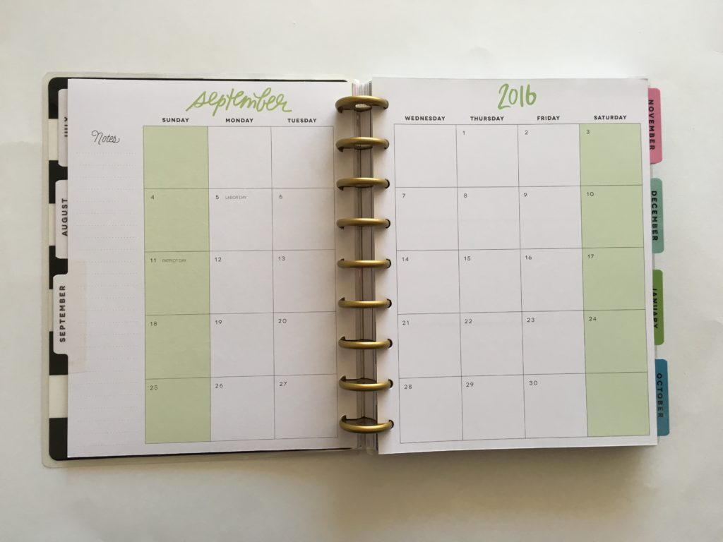 2 page calendar, monthly planner, happy planner review, me and my big ideas, mambi, best planner for 2017