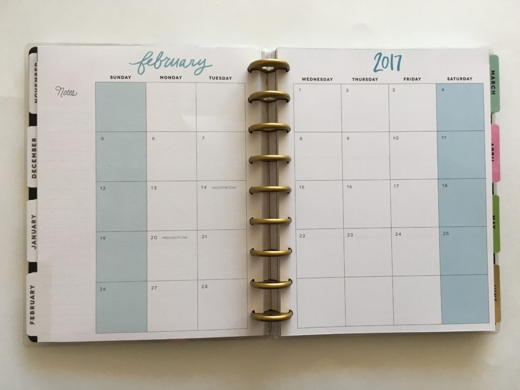 mambi happy planner review, monthly page layout, big happy planner, small, mini, 2017 planner, discbound system, best planner for moms