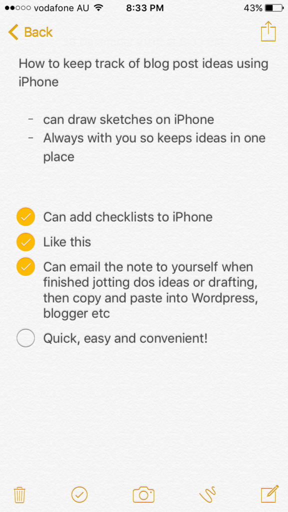 best apps for bloggers, how to keep track of blog post ideas using apps, notes app for iphone