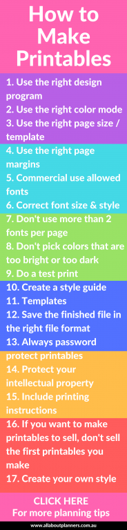 how to make printables for your planner things to keep in mind tutorial how to microsoft word photoshop excel instructions all about planners ecourse