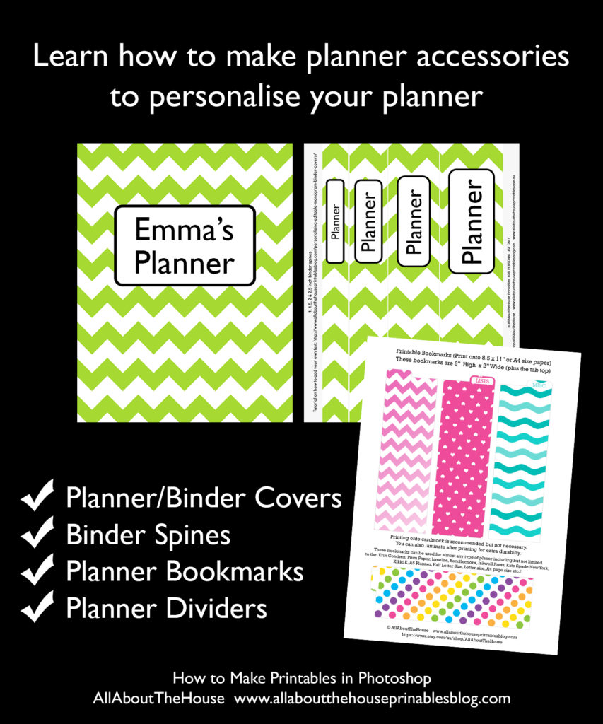 how to make printables in photoshop ecourse binder cover planner cover diy planner accessories bookmark page marker