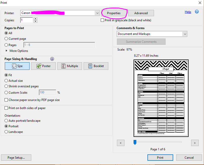 How to print printables at MAMBI Happy Planner Size (step by