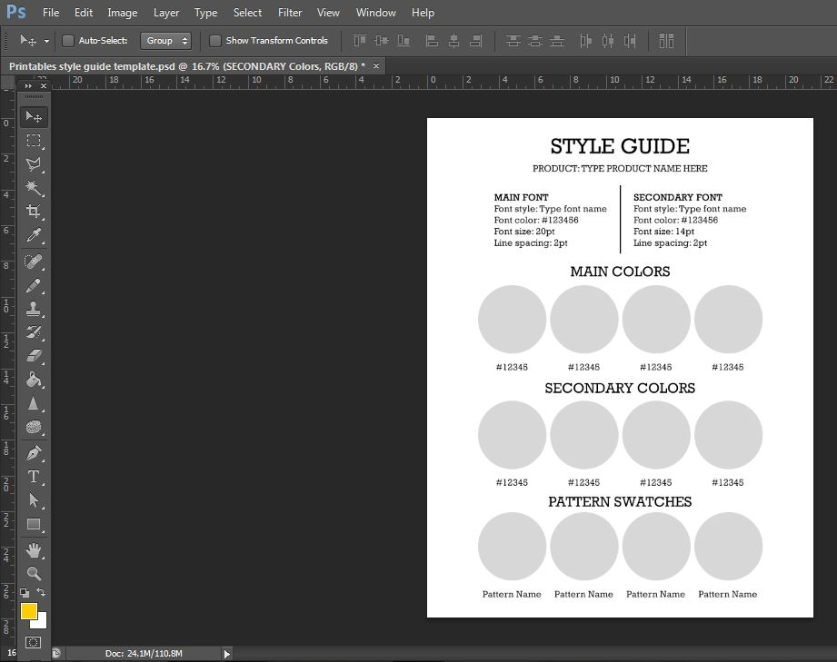 style guide template photoshop printable color chart template tutorial how to make printables blog planner