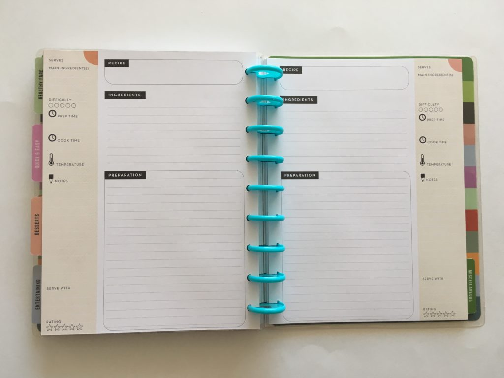 happy planner review, mambi recipe book, organizer, diy recipes, recipe binder