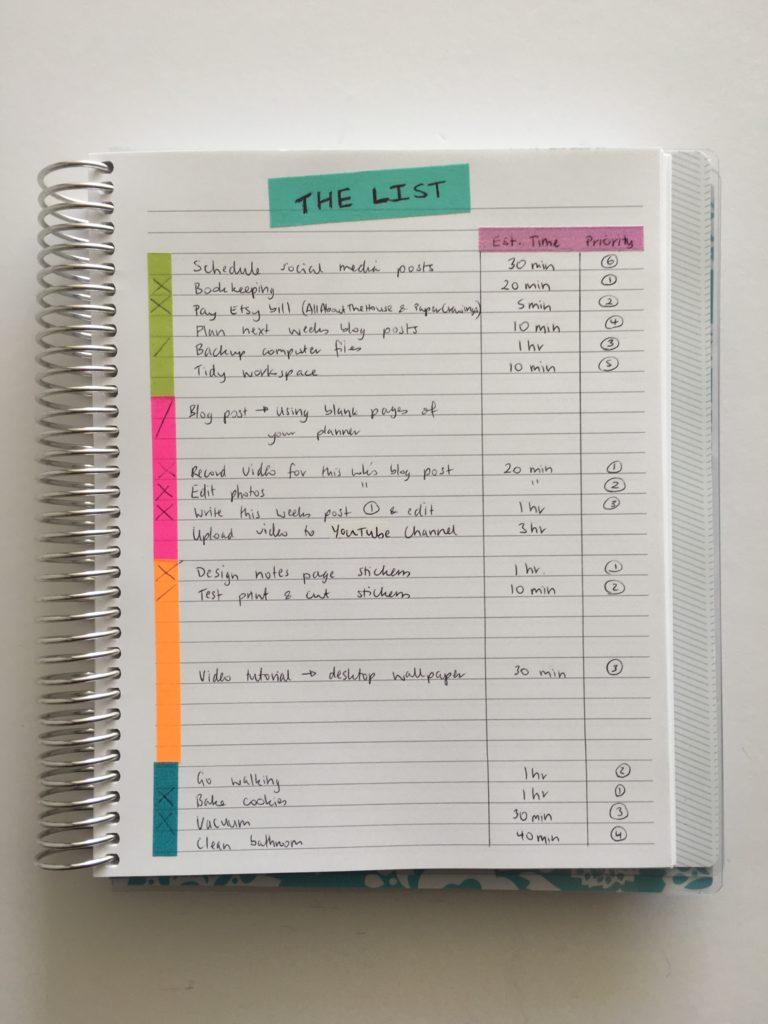 how to color code your planner using washi tape categorised task list priority rainbow planner tools