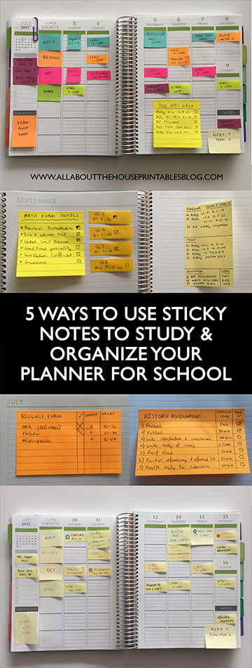 how to use sticky notes to organize your planner for school daily planner weekly color coded organization college exam tips homework