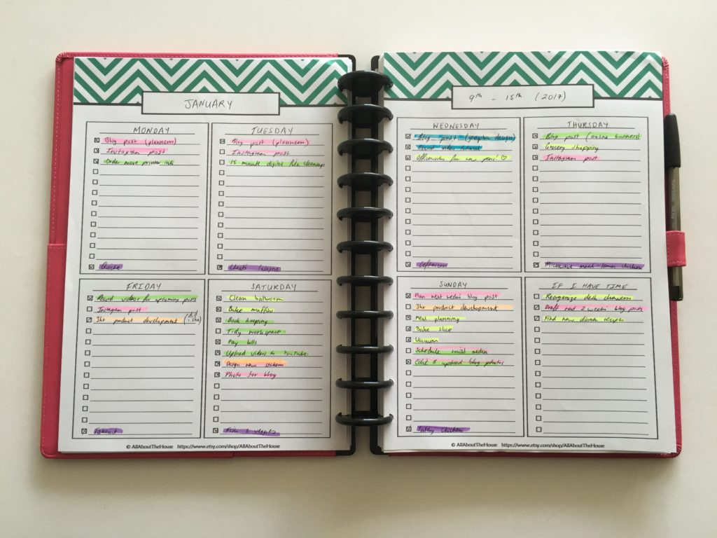 planner challenge, weekly planner with checlklist, 2 page week planner, free printable, editable, 2 page weekly planner