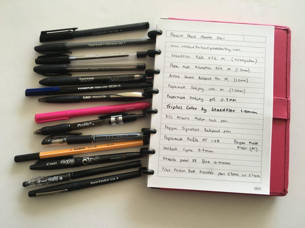 favorite black planner pens brand planner addict accessories review frixion erasable papermate pilot