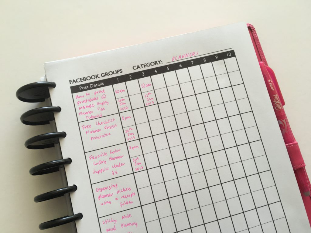 how to keep track of your facebook group commenting posting planner group free printable checklist organizer