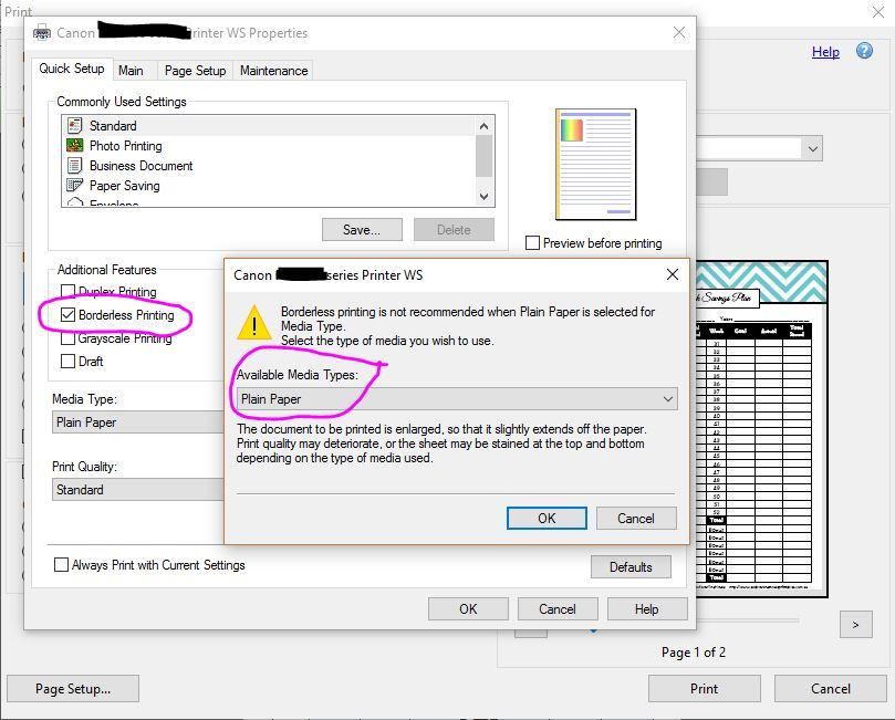 how to print without white border pdf