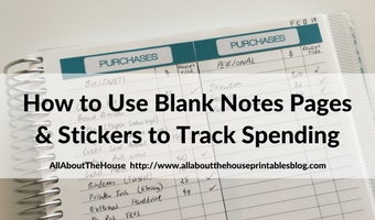 how to use the blank notes pages of your planner spending tracker purchases printable planner stickers list making color coding