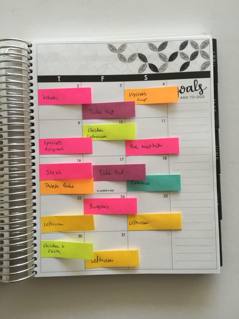 monthly meal planning using erin condren planner color coded planner organization weekly meal planning versus monthly