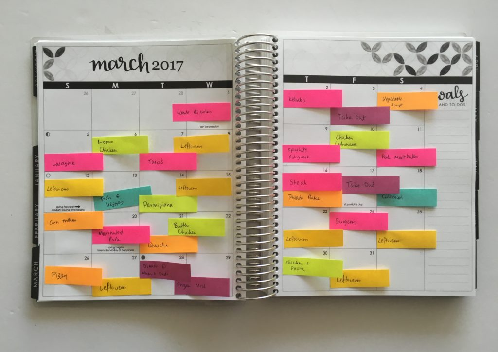 monthly meal planning using sticky notes color coded monthly planning effective schedule cooking meal planner
