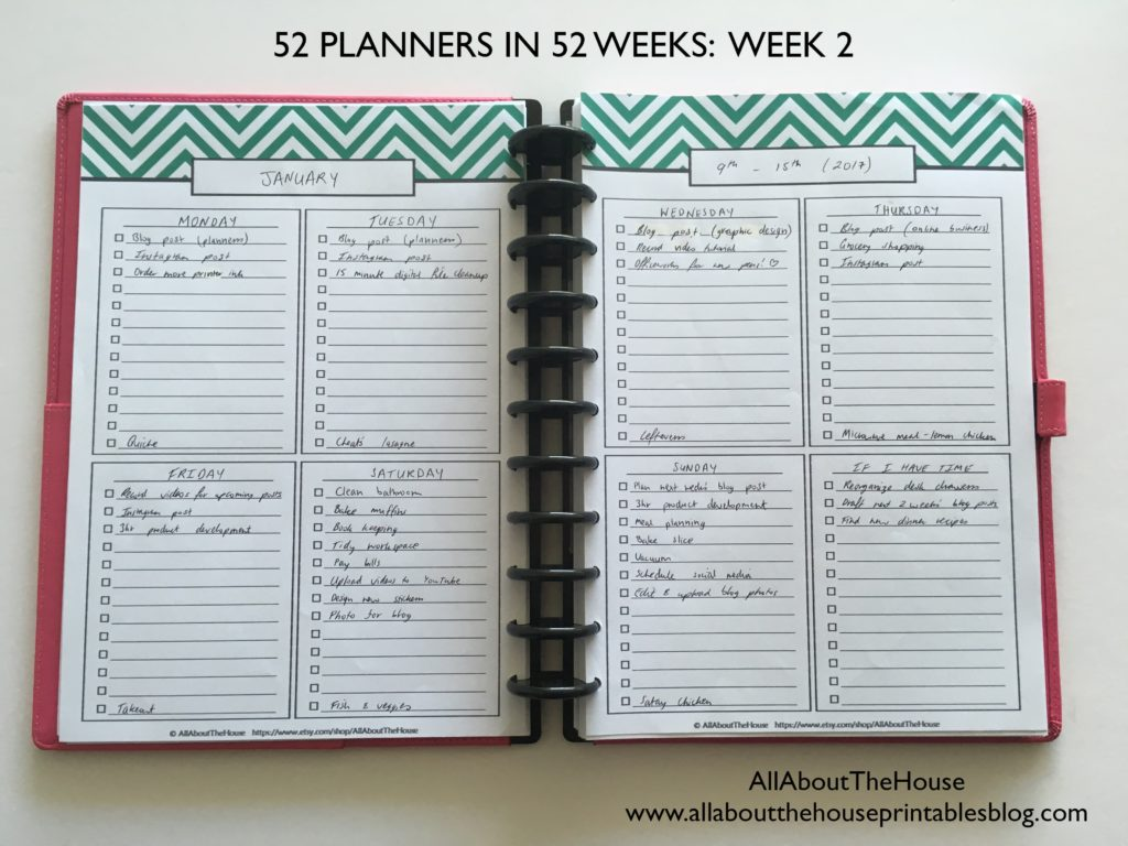 Planning with daily checklists (52 Planners in 52 Weeks