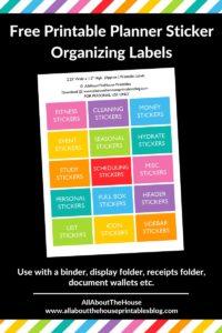 Free printable planner sticker organizing labels rainbow kits storage ideas box folder binder custom planner supplies newbie