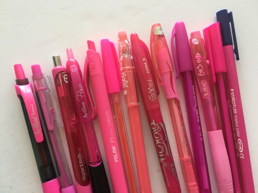 favorite planner pen brands pink pilot frixion artline smoove papermate inkjoy gel ballpoint no smudge smear erin condren glossy label matte