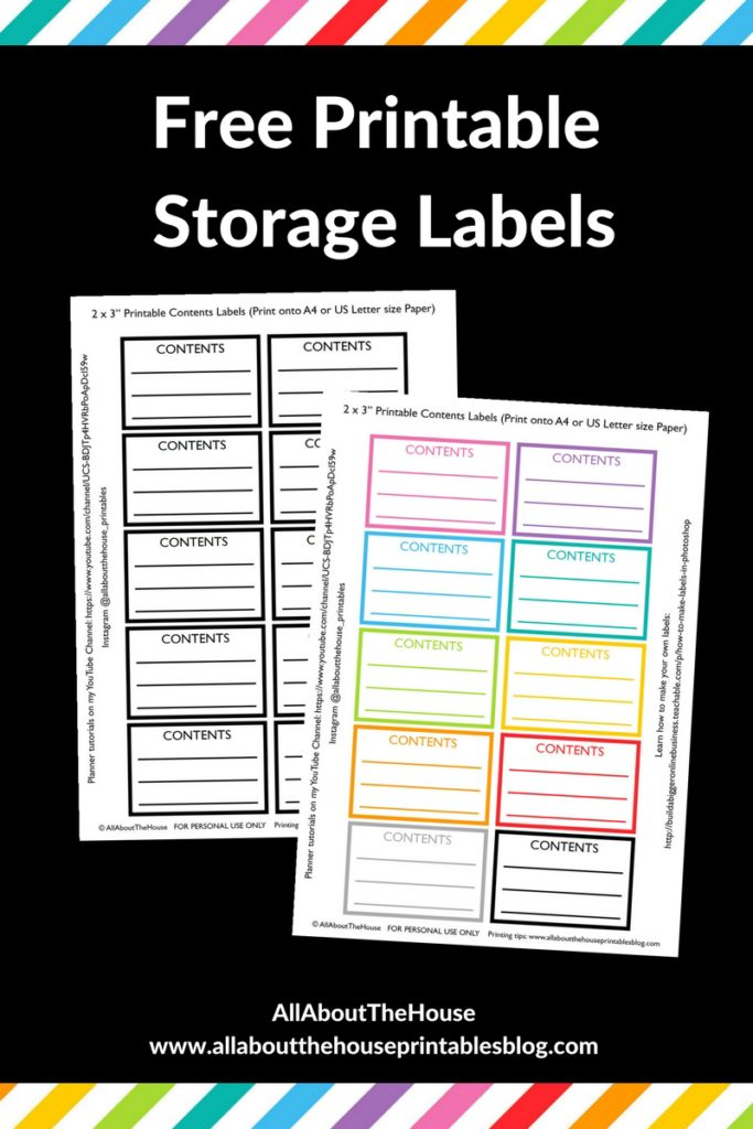 free printable sticker label content freezer food garage sale moving box label rainbow color coded organization pantry fridge
