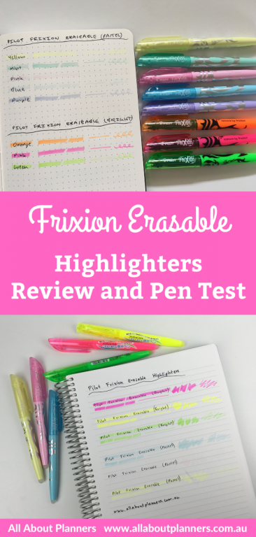 frixion erasable highlighters review and pen testing ghosting bleed through pastel brights which pens work best smuding all about planners