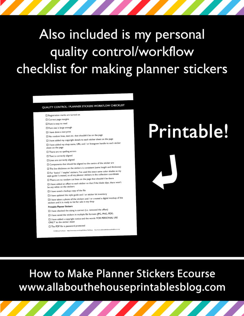 how to make planner stickers workflow step by step tutorials personalised custom printable erin condren checklist stickers process