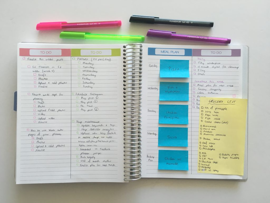 how to plan your week using blank note paper no sticker week color coding simple planner spread diy daily sticky notes