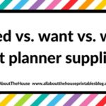 Planning 101: Need versus want versus wish list planner supplies