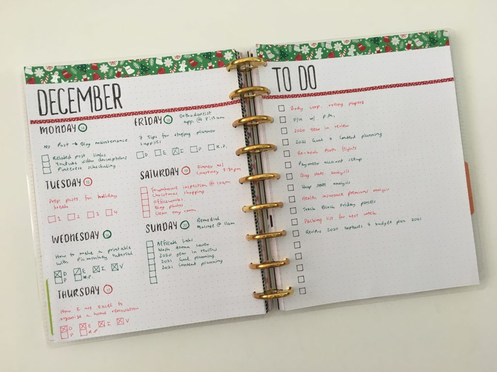 bullet journal simple weekly spread for christmas red and green theme days of the week stencils minimalist quick easy diy discbound planner maggie holmes paper