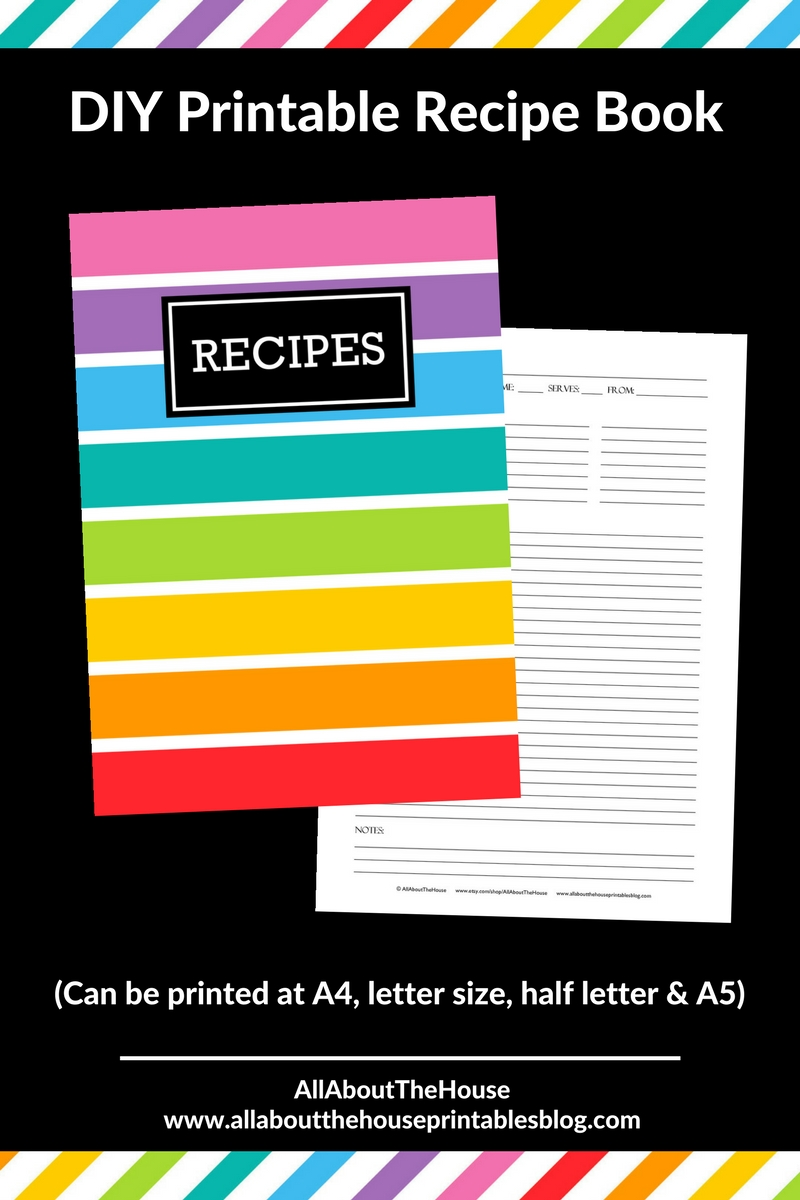 how to make a recipe book binder organization free printable planner