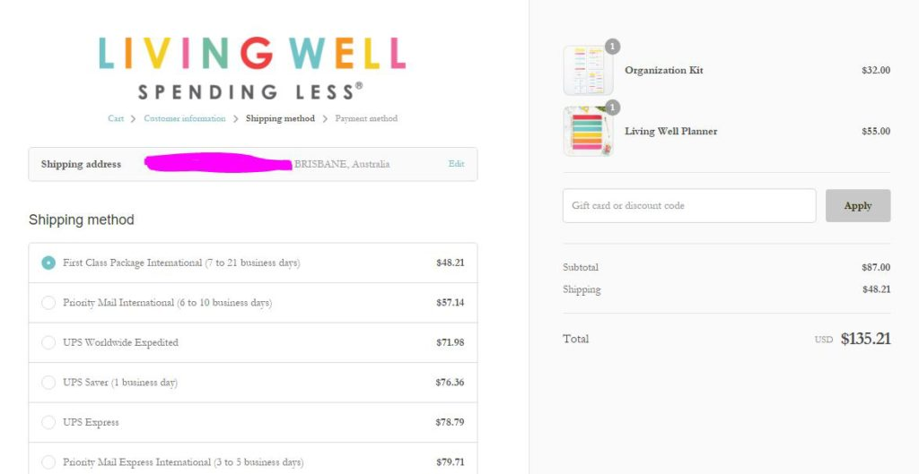 living well spending less weekly planner international shipping rates to Australia planners that ship free to australia