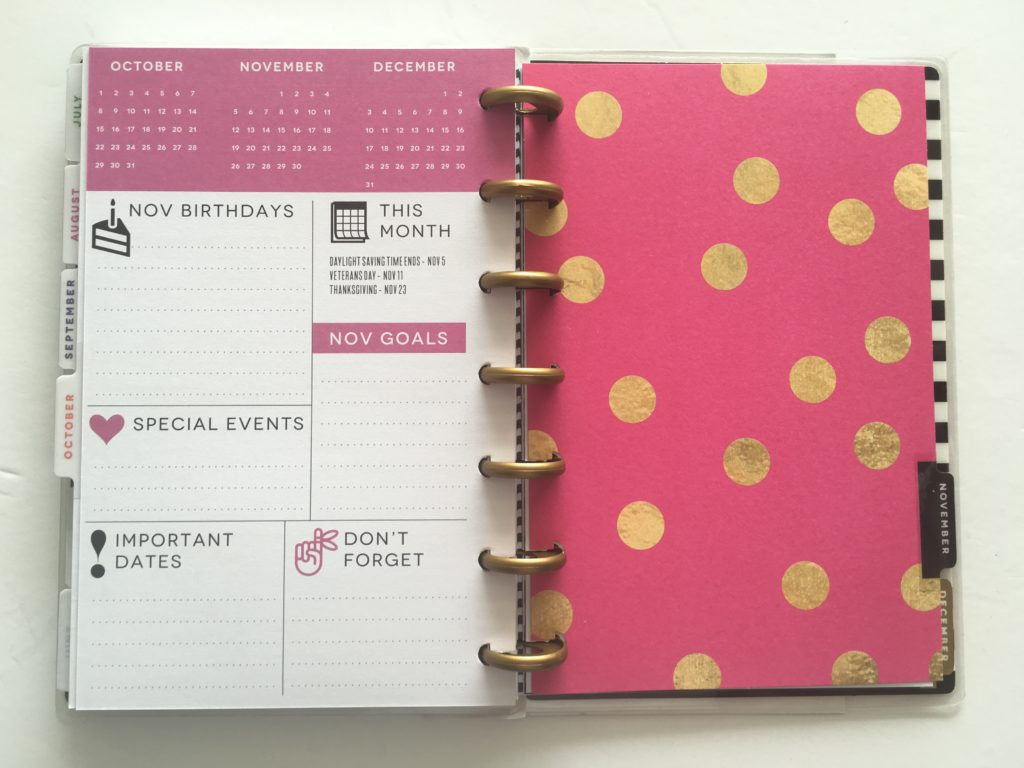 mini happy planner review best planner under 50 dollars cheap stylish gold foil polka dot horizontal weekly planner
