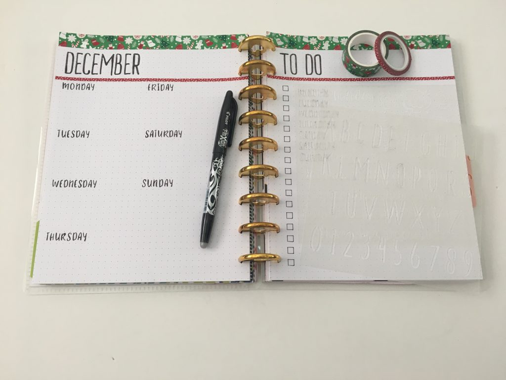 stencils weekly spread in diy discbound planner simple christmas theme functional frixion erasable pen paper accent pa stencil days of the week title headings happy planner skinny washi